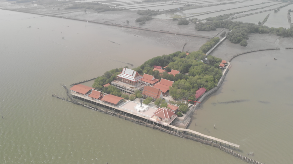 Sea level rise has stranded this temple in Thailand