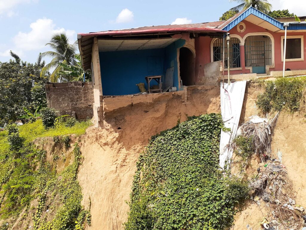 A house affected by gully erosion